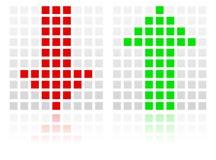Giù sulle icone della freccia fatte dei quadrati Immagine Stock Libera da Diritti