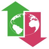 Giù terra alta globale della freccia royalty illustrazione gratis