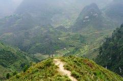 Giù traccia sul pietra-plateau di Dong Van, Viet Nam della collina Fotografie Stock Libere da Diritti