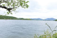 Gia Lai, Vietnam - 24 novembre 2018 : Région de touristes de Bien Ho, éco-tourisme avec le grand lac, forêt de pin autour, paysag image libre de droits