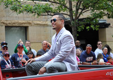 Giacarlo Stanton. MINNEAPOLIS - JULY 15:  Miami Marlins Star Giancarlo Stanton in the All Star Parade on July 15, 2014, in Minneapolis Royalty Free Stock Photo