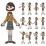 Giacca sportiva di Brown della ragazza della scuola a disposizione dipinta Immagine Stock Libera da Diritti