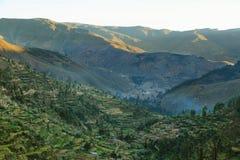Giacimenti della valle e del terrazzo di Tarma da Tarmatambo, Perù Immagine Stock Libera da Diritti