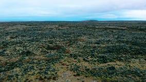 Giacimenti di lava verdi in metraggio aereo del sud dell'Islanda stock footage