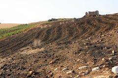 Giacimento arato del pendio di collina Fotografie Stock