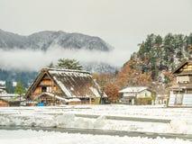 Giacimento congelato del riso in Shirakawa, Giappone Immagini Stock