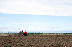 Giacimento d'aratura del trattore rosso Fotografia Stock