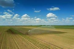 Giacimento d'innaffiatura dell'attrezzatura di irrigazione Siluetta dell'uomo Cowering di affari Irrigazione di Fotografie Stock Libere da Diritti