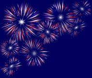 Giacimento dei fuochi d'artificio sull'azzurro Fotografie Stock