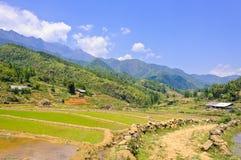 Giacimento del riso di Sapa con il Mountain View immagini stock libere da diritti