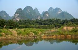 Giacimento del riso in Yangshuo Fotografie Stock Libere da Diritti
