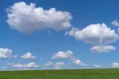 Giacimento di grano con cielo blu nuvoloso Immagini Stock