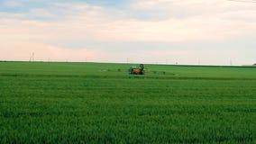 Giacimento di grano di spruzzatura dell'agricoltore con lo spruzzatore del trattore alla stagione primaverile stock footage