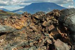 Giacimento di lava al vulcano di Tolbachik, dopo l'eruzione nel 2012 sul grande vulcano di Udina del fondo, Kamchatka Immagini Stock Libere da Diritti
