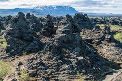 Giacimento di lava di Dimmuborgir, area di Myvatn - Islanda immagini stock