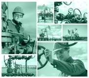 Giacimento di petrolio del collage Immagine Stock Libera da Diritti