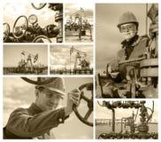 Giacimento di petrolio del collage Fotografie Stock Libere da Diritti