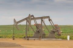 Giacimento di petrolio nei calanchi del Nord Dakota immagine stock libera da diritti