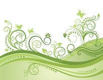 Giacimento, fiori e farfalle verdi della sorgente Fotografia Stock Libera da Diritti