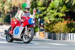 Giacomo Agostini auf Millivolt Agusta Stockbild