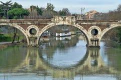 Giacomo Matteotti bridge in Rome, Italy. Tiber river and the Giacomo Matteotti bridge in Rome, Italy stock images