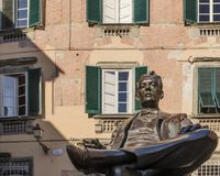 Giacomo Puccini, аркада Cittadella, Лукка, Тоскана, Италия стоковое фото rf