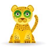 Giaguaro divertente su fondo bianco Fotografia Stock Libera da Diritti