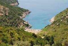 Gialia beach, Alonissos. Looking down onto Gialia beach on the Greek island of Alonissos Stock Photos