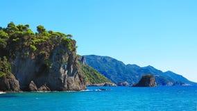 Gialiskari海滩在科孚岛,希腊 库存照片