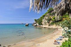 Gialiskari strand i Korfu Grekland Royaltyfria Foton