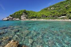 Gialiskari strand i Korfu Grekland Royaltyfri Bild