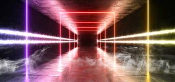 Giallo blu di lerciume del fumo del mattone del corridoio del tunnel di Hall Reflective Neon Glowing Sci Fi di porpora moderna fu illustrazione di stock