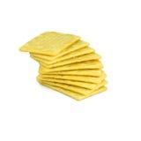 Giallo dei cracker isolato su bianco Fotografia Stock Libera da Diritti