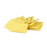 Giallo dei cracker isolato su bianco Immagine Stock Libera da Diritti