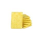 Giallo dei cracker isolato su bianco Fotografia Stock