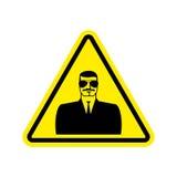Giallo del segnale di pericolo della spia Simbolo di attenzione di Hazard dell'agente segreto d Fotografia Stock Libera da Diritti