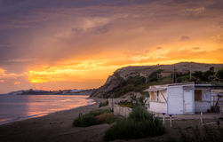 Giallo della Sicilia Italia di tramonto Fotografia Stock Libera da Diritti