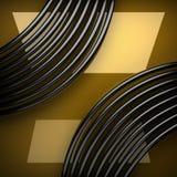 Giallo di piastra metallica con alcuni riflessione ed elementi neri Fotografia Stock Libera da Diritti