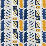 Giallo e blu del modello di vettore di Memphis Style Geometric Abstract Seamless royalty illustrazione gratis