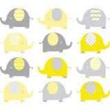 Giallo e Grey Cute Elephant Collections Fotografia Stock