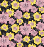 Giallo e modello senza cuciture floreale stilizzato ottimistico Fotografie Stock Libere da Diritti