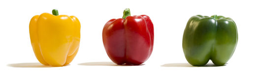 Giallo, rosso, peperone verde Fotografia Stock Libera da Diritti