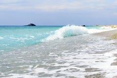 Gialos海滩在莱夫卡斯州海岛(希腊) 图库摄影