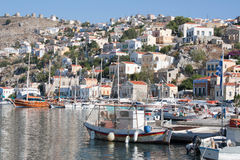 Gialos, the harbour of Symi, Greece. Stock Image