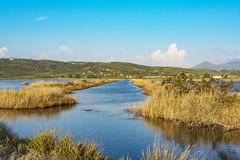 Gialova盐水湖, Messinia,希腊 图库摄影