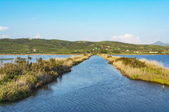 Gialova盐水湖, Messinia,希腊 免版税库存照片
