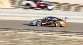 Giancola που συναγωνίζεται κατά τη διάρκεια της πρόκλησης φλυτζανιών της Porsche GT3 Στοκ Εικόνες