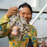 An Giang,越南- 2014年11月29日:卖在客船的一名农村妇女的特写镜头射击煮沸的鹌鹑蛋在连队河,湄公河 库存图片