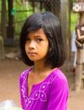 An Giang,越南- 2014年11月29日:可汗孩子特写镜头画象占城村庄的,湄公河三角洲,越南 库存图片