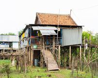 An Giang,越南- 2014年11月29日:可汗champa, campa湄公河三角洲的乡下人房子,越南外视图  免版税图库摄影
